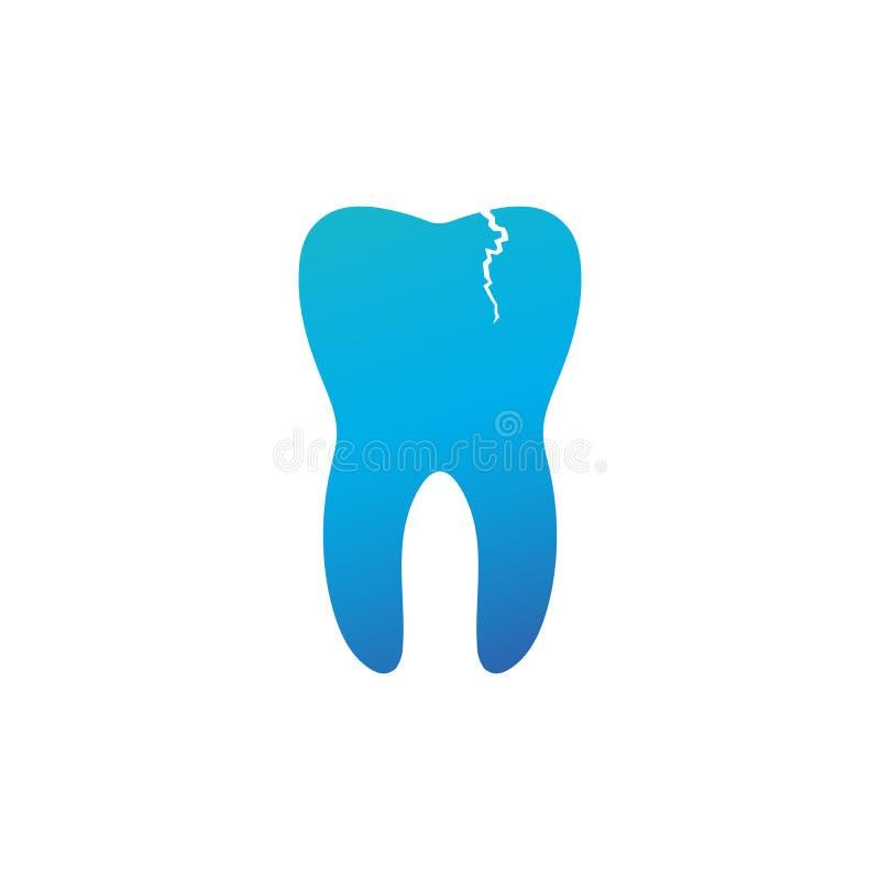 龋,牙痛,破裂的坏牙,石灰石 害病的牙和口腔 在蓝色背景 ?? 向量例证