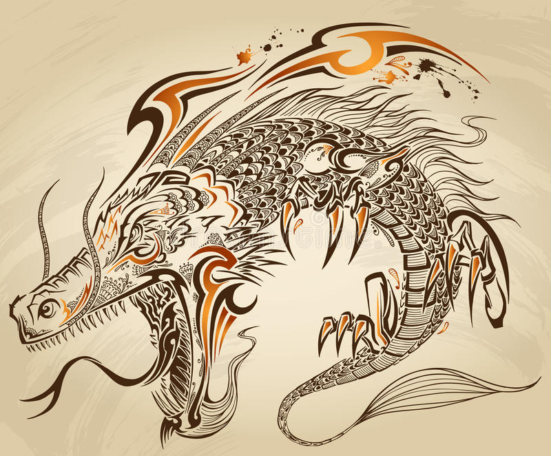 龙乱画纹身花刺传染媒介 库存例证