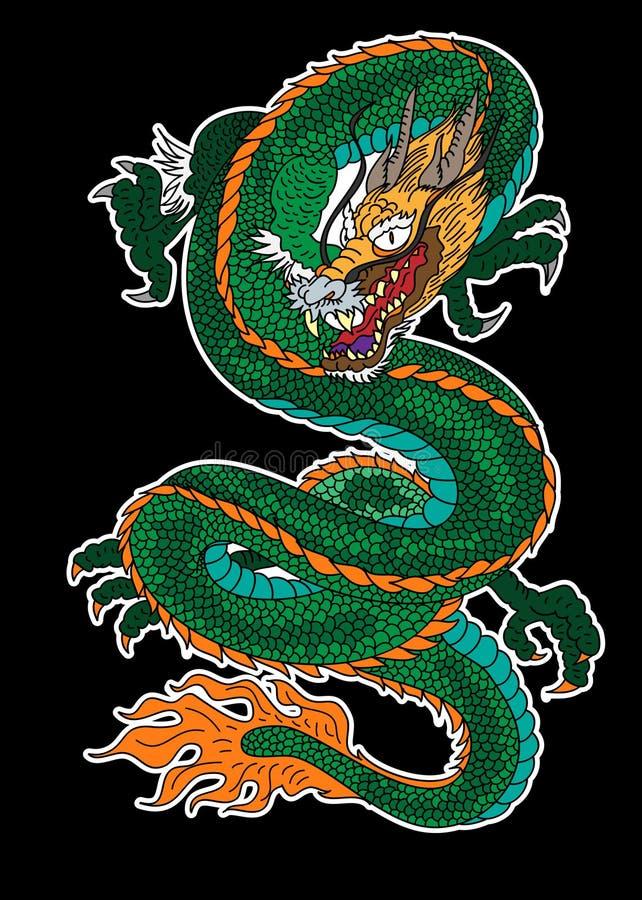 龙传染媒介与佐仓分支和花的纹身花刺和例证设计在背景 皇族释放例证