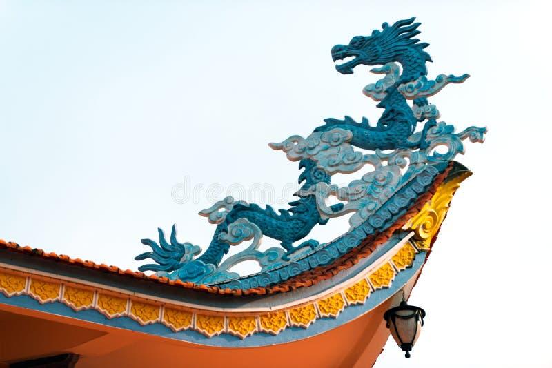 龙作为在寺庙的一个建筑细节在亚洲 库存图片