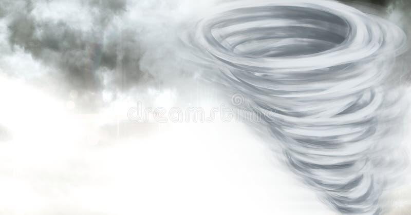 龙卷风扭转者被绘的和天空云彩 皇族释放例证