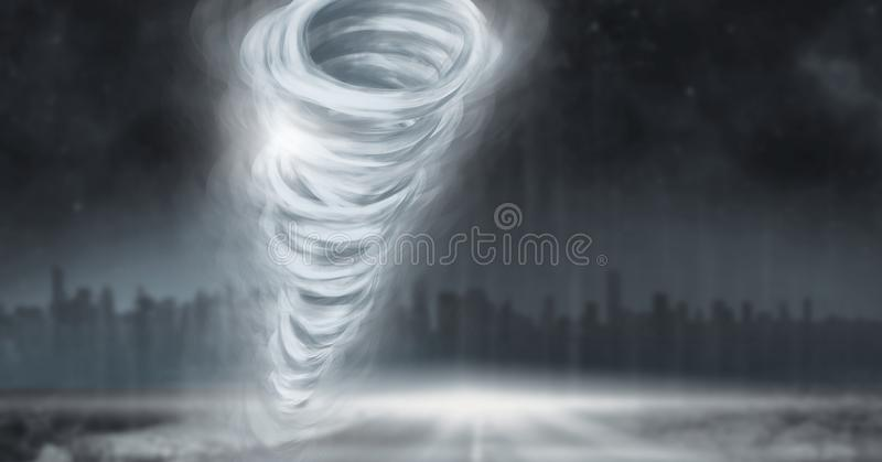龙卷风扭转者被绘的和黑暗的城市天空 皇族释放例证