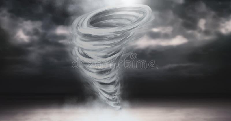 龙卷风扭转者被绘的和黑暗的天空 向量例证