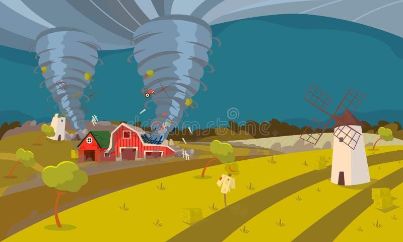龙卷风毁坏的农厂飓风风景 皇族释放例证