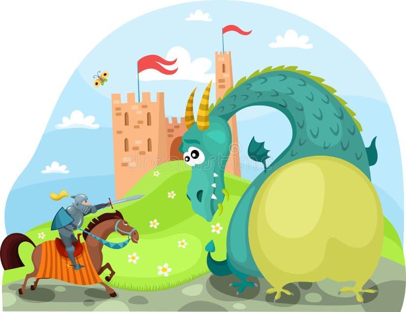 龙和骑士 库存例证
