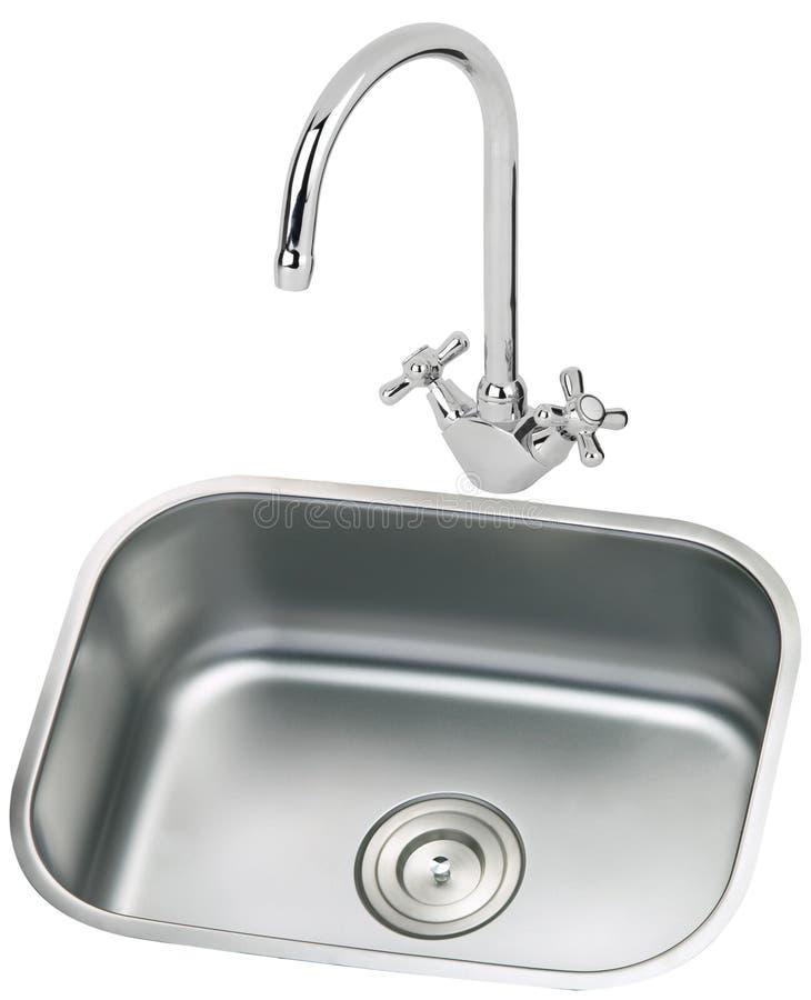 龙头厨房水槽 免版税库存照片