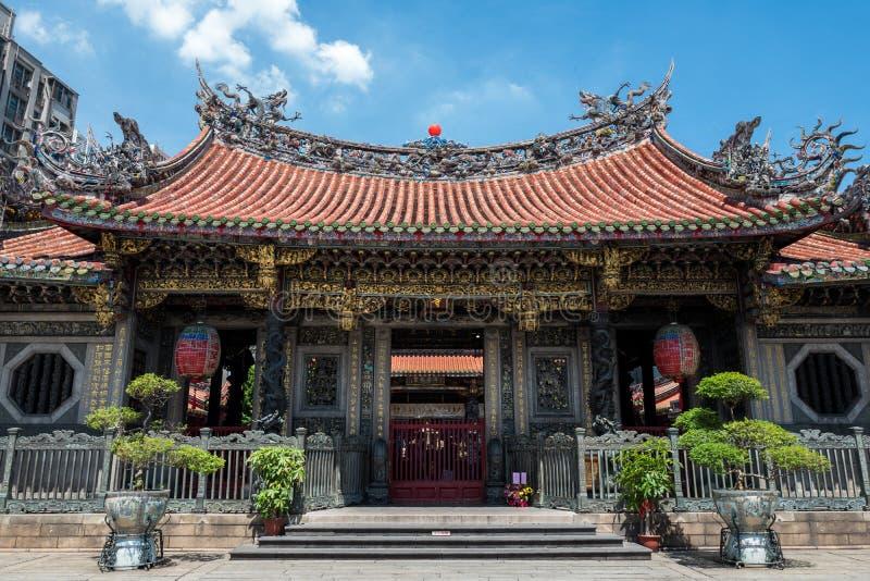 龙山Mengija寺庙在台北,台湾 免版税库存图片