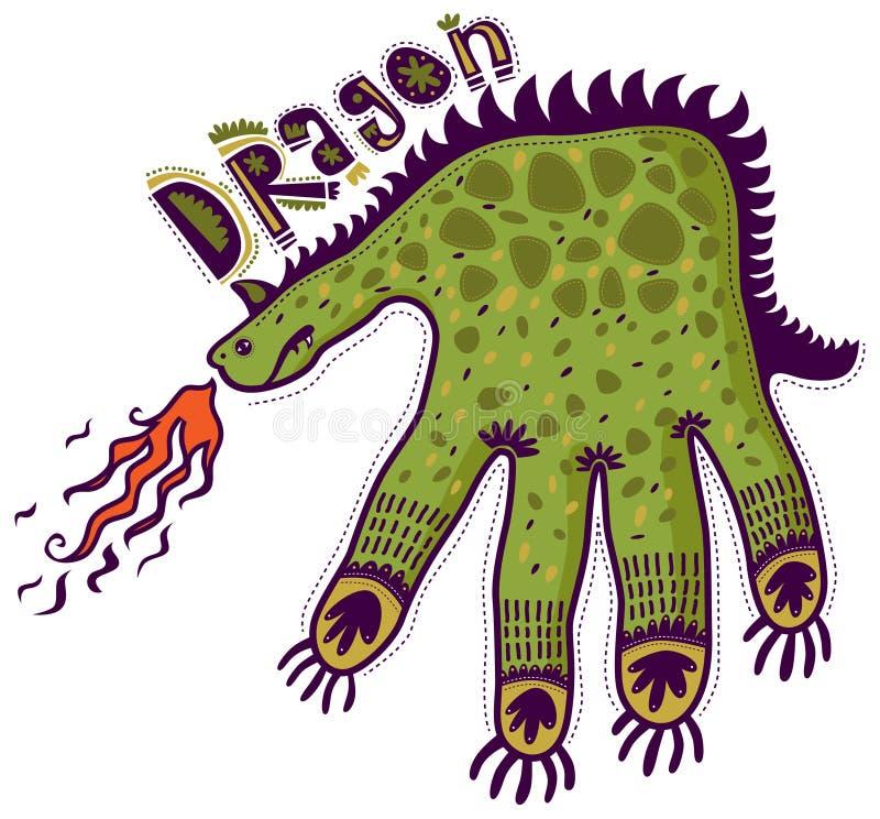 龙形状的手呼吸的火 皇族释放例证
