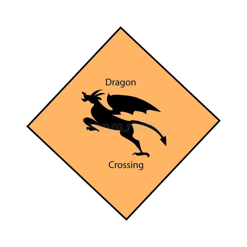 龙横穿路标 库存例证