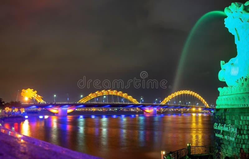 龙河桥梁(;荣Bridge);在岘港,越南 图库摄影