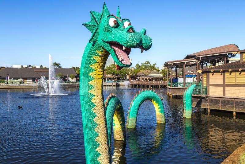 龙由Legos制成 免版税库存图片