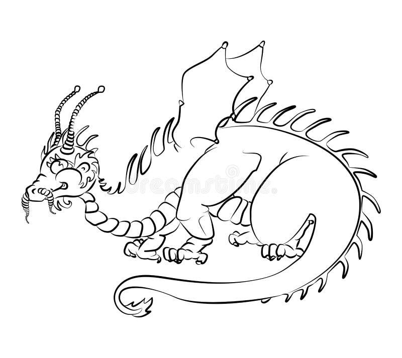 龙的黑白图象 向量例证