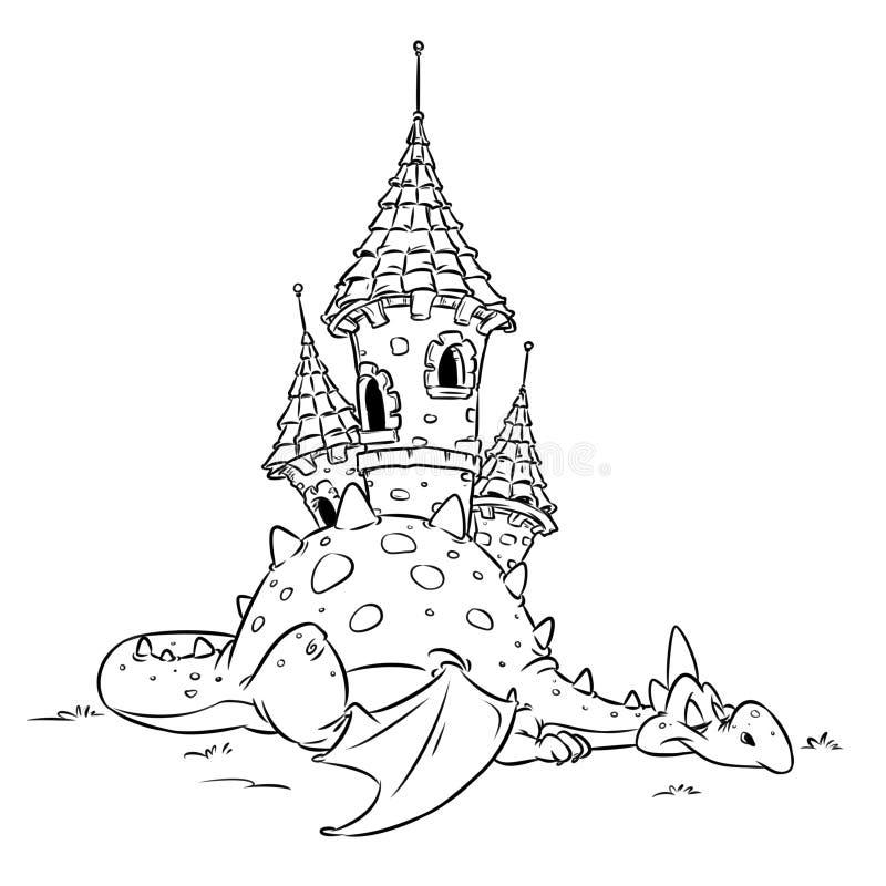 龙神仙的安全中世纪城堡动物快乐的动画片着色页 向量例证