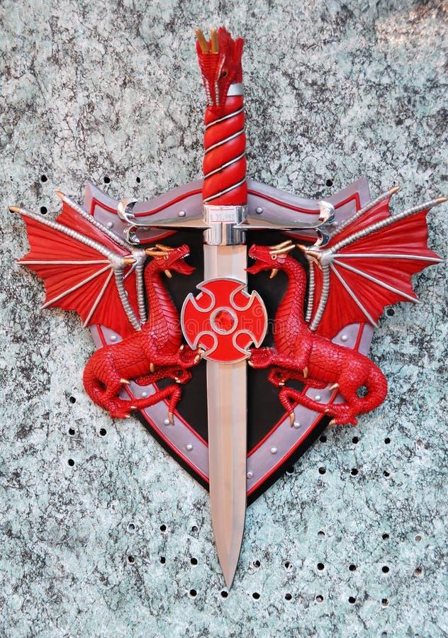 龙红色剑 免版税图库摄影