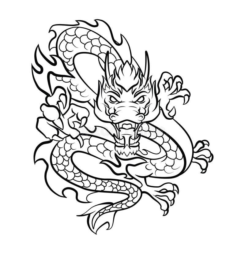龙纹身花刺传染媒介例证 向量例证