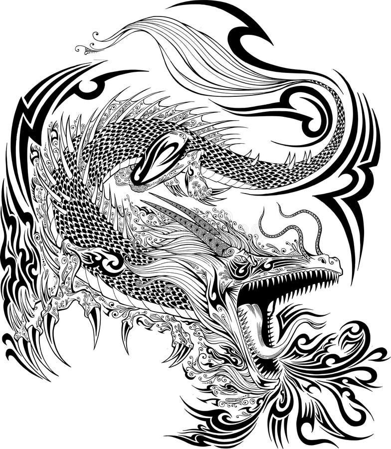 龙纹身花刺传染媒介 向量例证