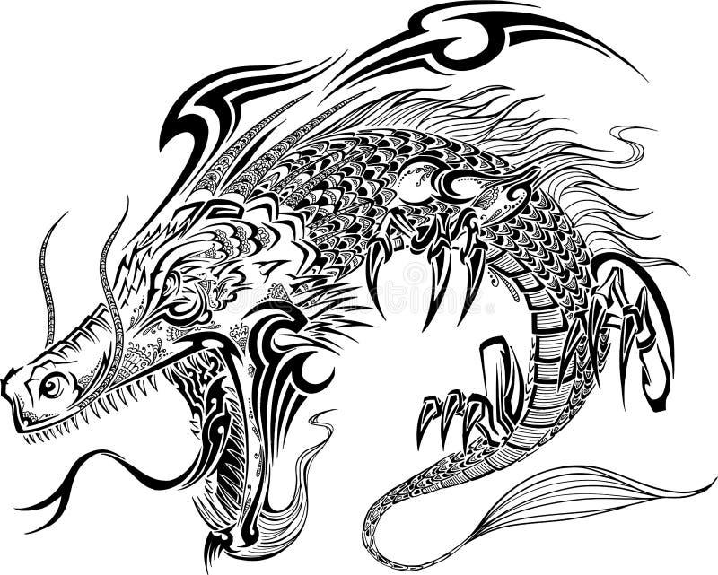 龙纹身花刺传染媒介 皇族释放例证