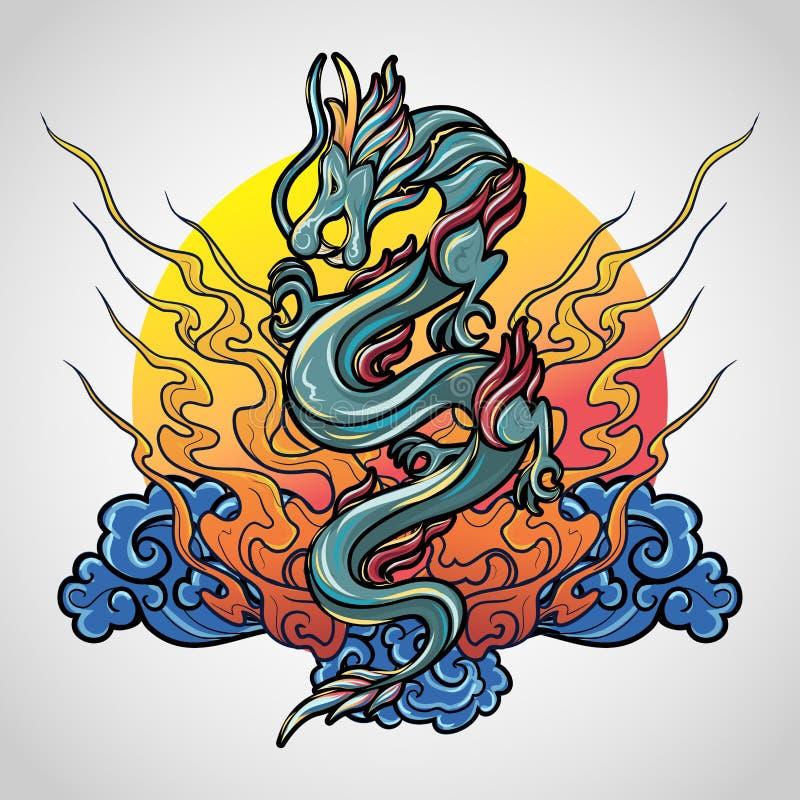 龙纹身花刺商标象设计,传染媒介 皇族释放例证