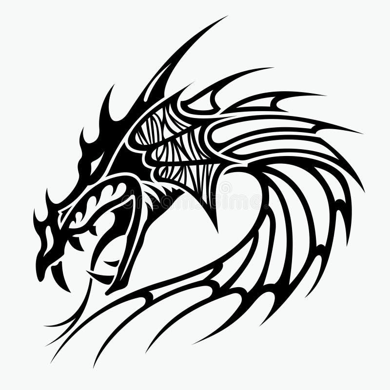 龙纹身花刺设计的传染媒介例证 皇族释放例证