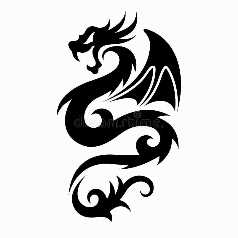 龙纹身花刺设计的传染媒介例证 库存例证