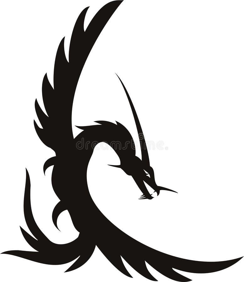 龙纹身花刺 向量例证