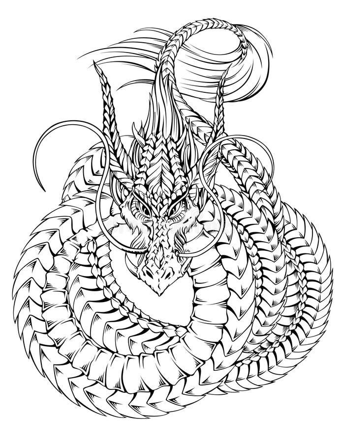 龙纹身花刺 库存例证