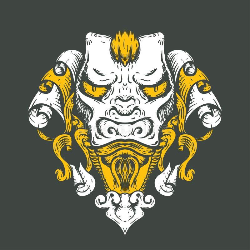 龙纹身花刺T恤杉设计 亚洲老虎的头 库存例证