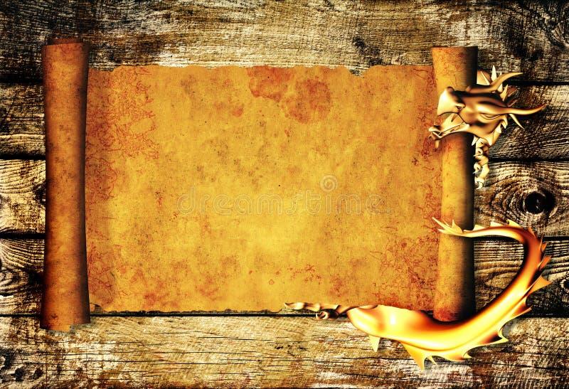 龙老羊皮纸滚动 向量例证
