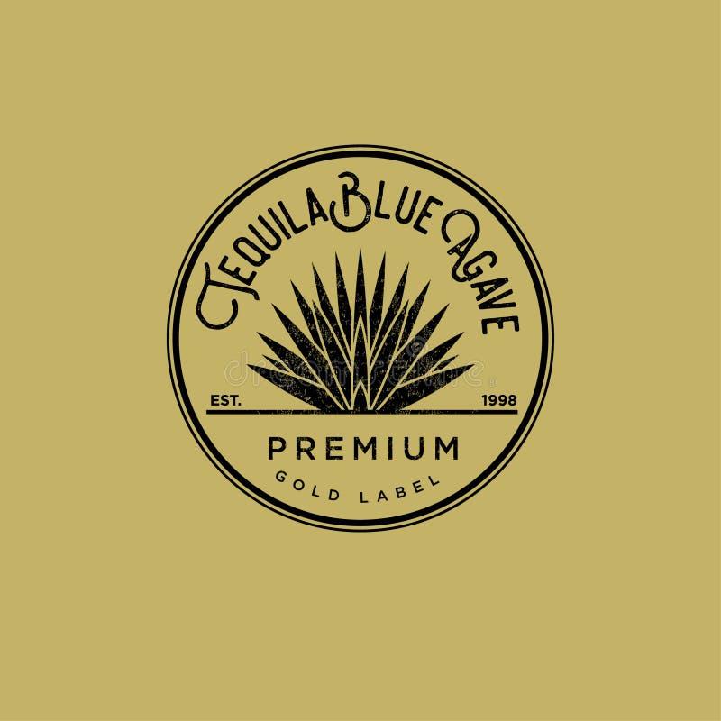 龙舌兰酒商标 金子龙舌兰酒标签 蓝色龙舌兰保险费龙舌兰酒 在一个圈子的龙舌兰在黄色背景 皇族释放例证