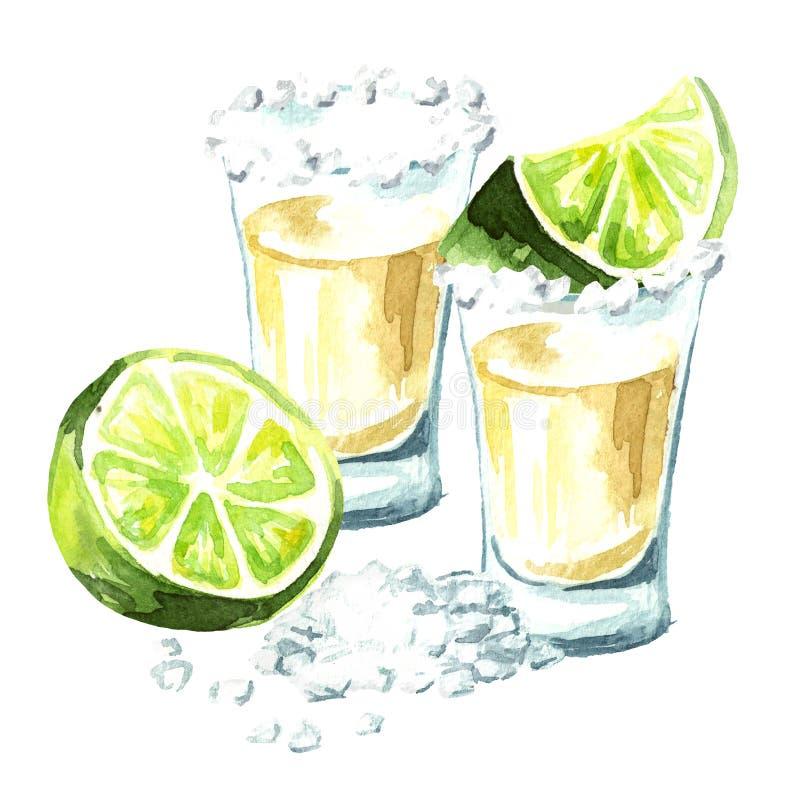 龙舌兰酒射击与石灰和盐 在白色背景隔绝的手拉的水彩例证 向量例证