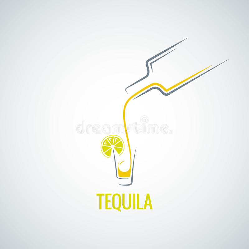 龙舌兰酒射击玻璃瓶菜单背景 向量例证