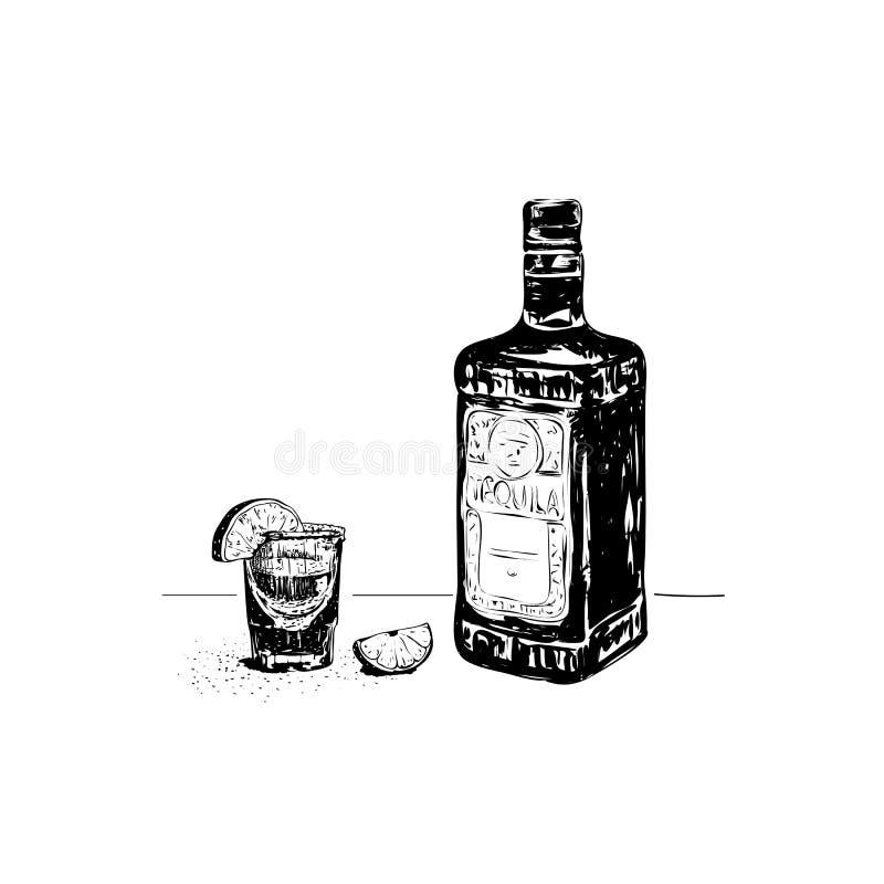 龙舌兰酒瓶和玻璃,手剪影的传染媒介例证 向量例证