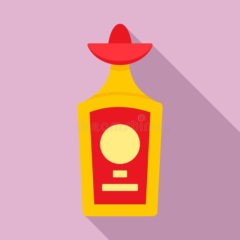 龙舌兰酒瓶象,平的样式 皇族释放例证