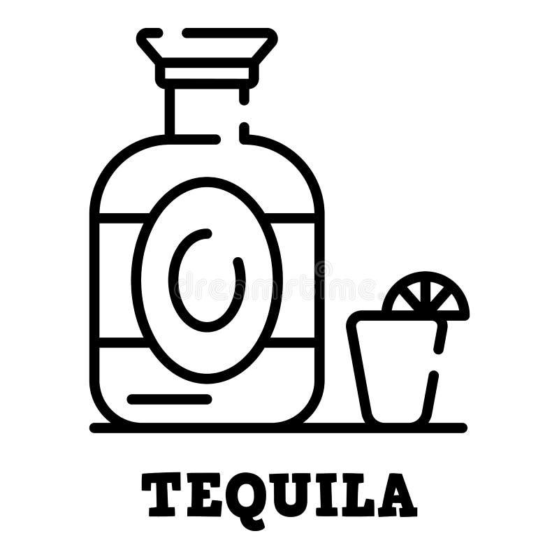 龙舌兰酒瓶象,概述样式 向量例证