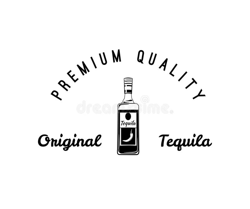 龙舌兰酒瓶,葡萄酒传染媒介元素 查出在白色 向量例证