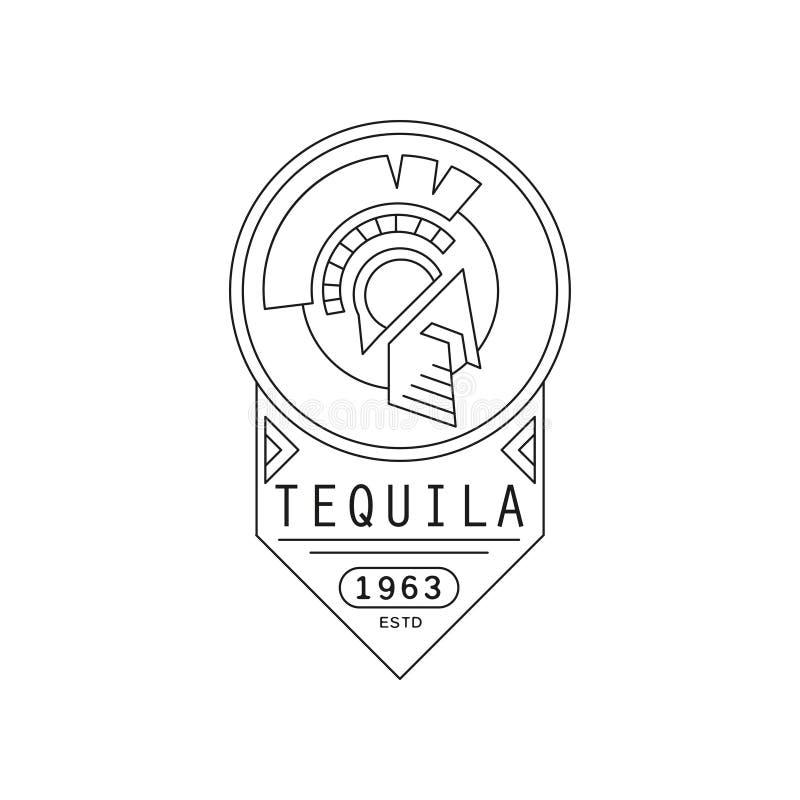 龙舌兰酒葡萄酒标签设计,烈性饮料徽章estd 1963年,在a的酒精产业单色象征传染媒介例证 皇族释放例证