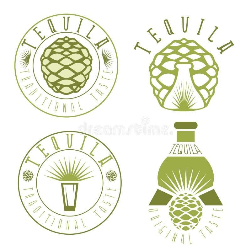 龙舌兰酒葡萄酒集合标签与和瓶 向量例证