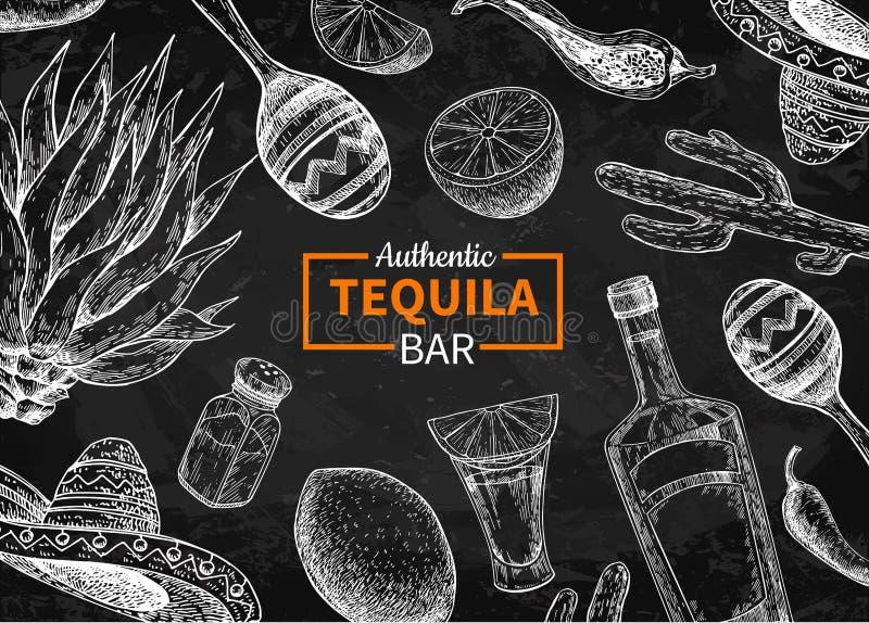 龙舌兰酒酒吧传染媒介黑板标签 墨西哥酒精饮料drawi 皇族释放例证