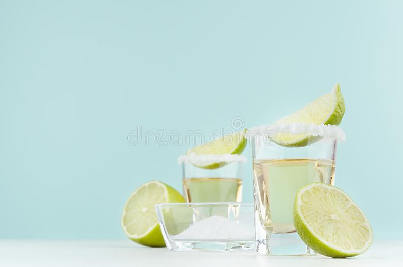 龙舌兰酒酒精与咸外缘,片断石灰,在碗的盐的射击饮料在柔光淡色绿色背景,拷贝空间 免版税库存照片