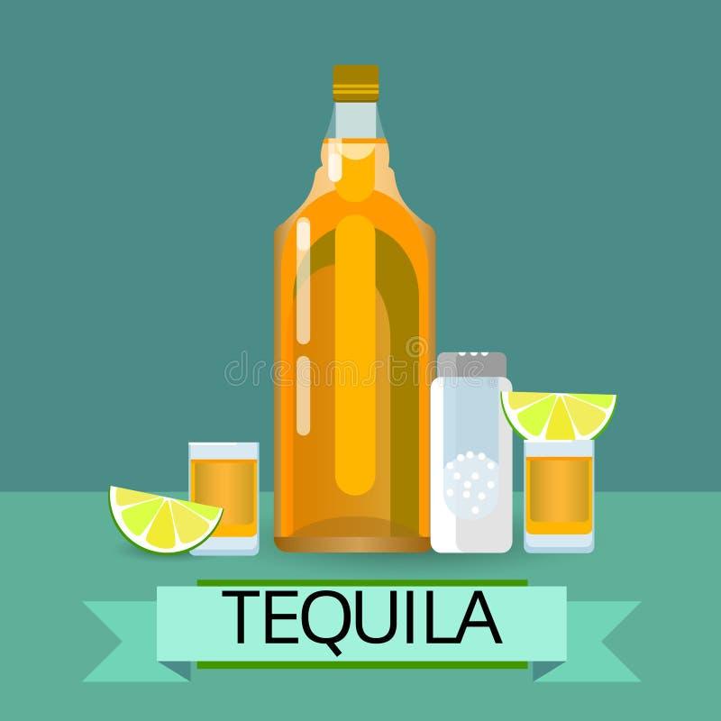 龙舌兰酒金与柠檬石灰盐酒精饮料的玻璃瓶 库存例证