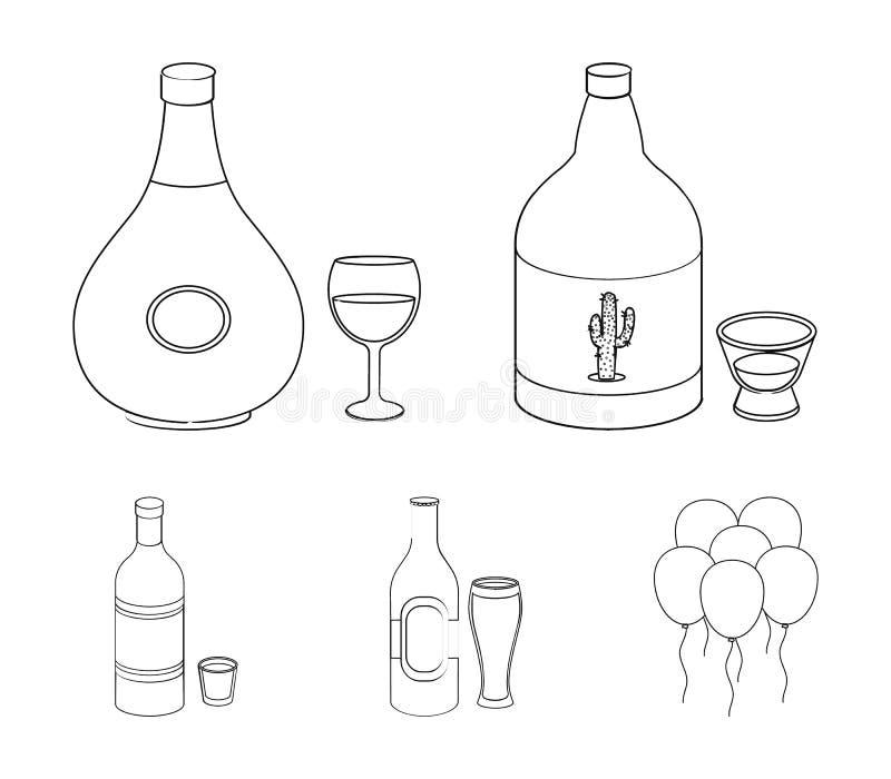 龙舌兰酒,科涅克白兰地,啤酒,伏特加酒 在概述样式的酒精集合汇集象导航标志储蓄例证网 向量例证