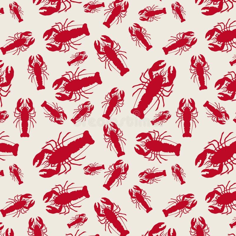 龙虾传染媒介无缝的蓝色重复为在浅褐色的背景的任何使用 向量例证