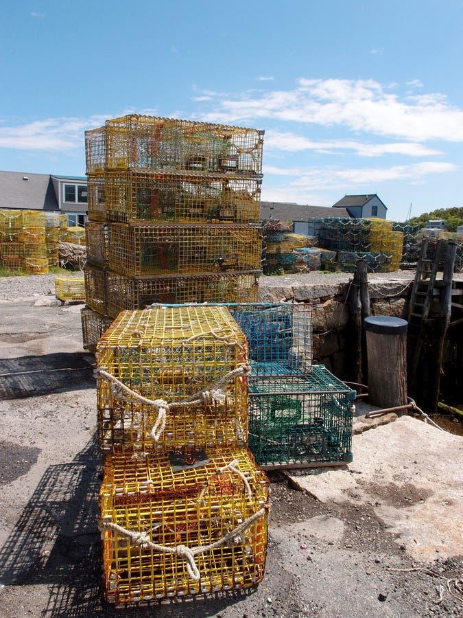 龙虾陷井在渔村 免版税库存图片