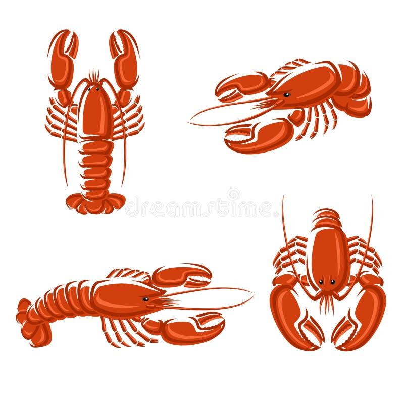 龙虾集合。传染媒介 皇族释放例证