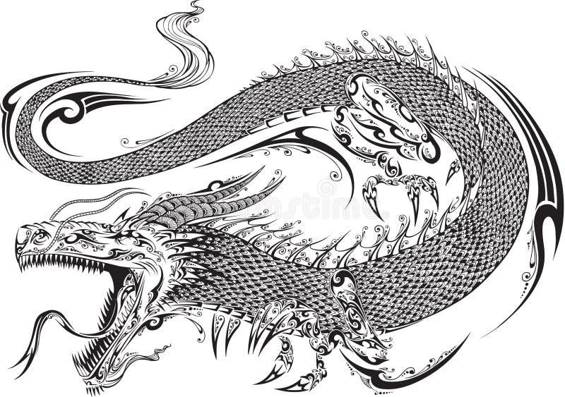 龙部族纹身花刺传染媒介 库存例证