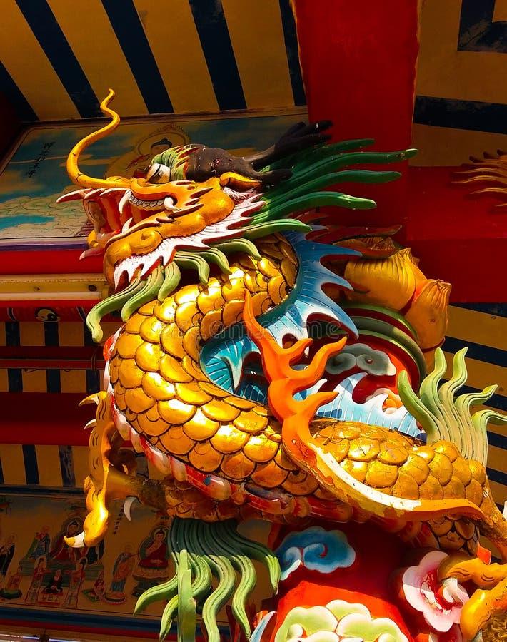 龙金黄在脊椎寺庙 库存照片