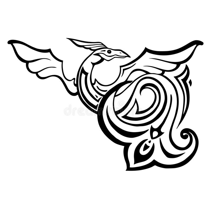 龙 传统传染媒介例证 种族纹身花刺样式 向量例证