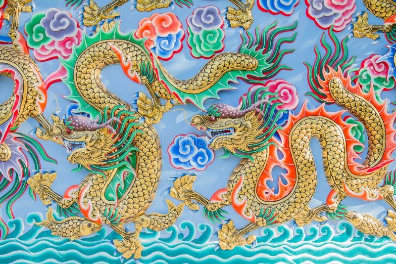 龙绘画在墙壁上的在中国寺庙 库存图片