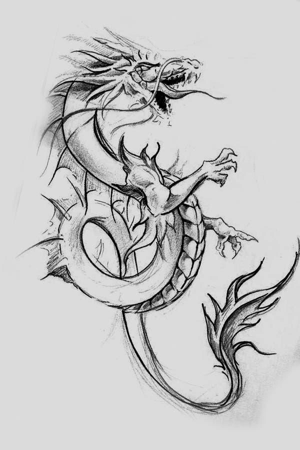 龙lizzard,纹身花刺剪影,在葡萄酒pape的手工制造设计 库存例证