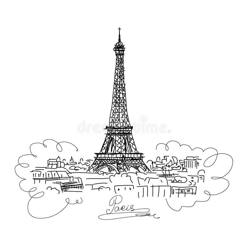 巴黎,与埃菲尔山塔的都市风景 您的设计的剪影 向量例证